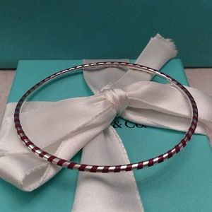 Tiffany & Co. Red Enamel Bangle Bracelet